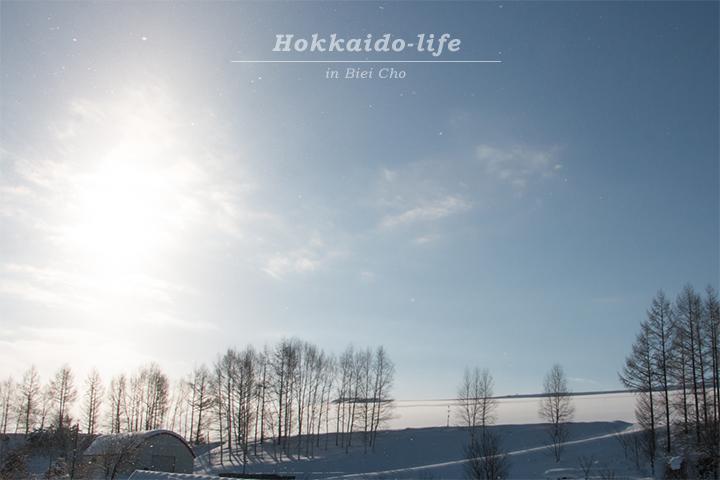 冬の晴れ間の美瑛の丘