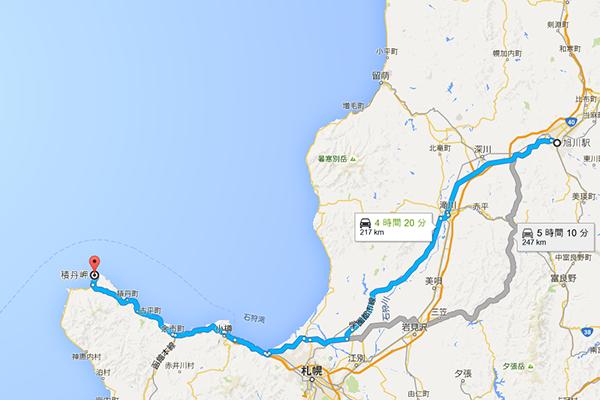 旭川から積丹岬への地図(グーグルマップ)
