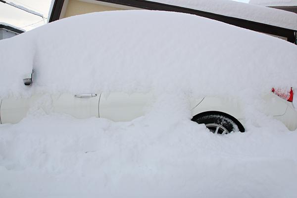 車まわりの積雪量