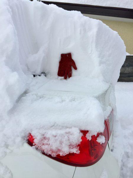 車の積雪の高さを手袋と比較